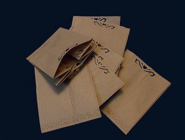20  buc pungute natur cusatura zimtata crem si perforatie decorativa -  ambalaj kraft paper
