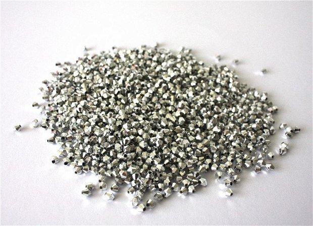 100 margele acrilice , biconice , argintii