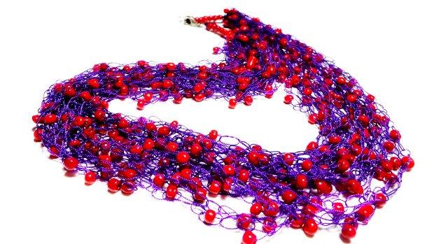 Colier crosetat Purple and Red
