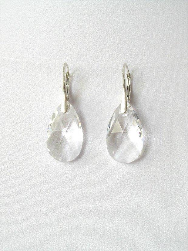 Cercei argint White Swarovski Pear