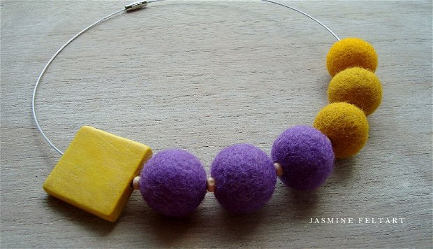 Colier Eclectic yellow and mauve