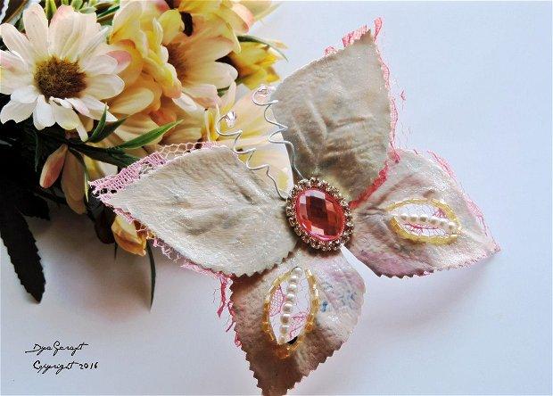 Fluture textil/dantela buchete mireasa