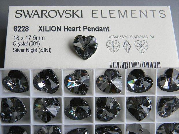 Pandantiv Swarovski - inima 18 mm - SINI