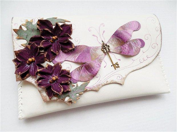 Poseta plic handmade unicat din piele naturala -Purple Dragonfly 4