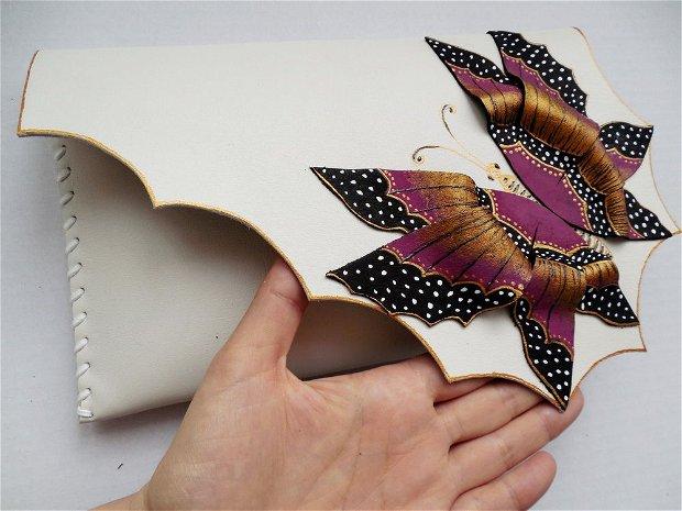 poseta plic handmade unicat din piele - Magenta Butterfly