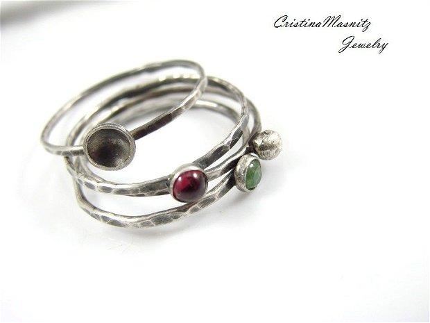 Stacking ring din argint 925 partial oxidat si radacina de smarald