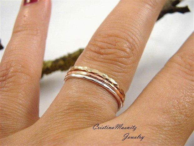 Stacking rings set de 3 inele din argint 925 , cupru si sarma gold filled de 12K