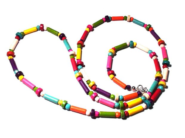 Bratara vesela din Howlite colorat - BR260 - bratara boho chic, bratara multicolora, bratara multisir / wrap