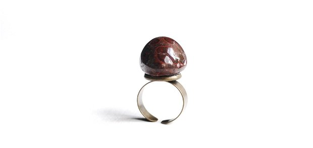 Inel jasper oceanic rulat  [bombonica]  cu baza bronz reglabila