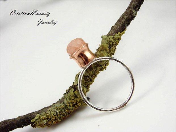 Inel din argint 925 cu textura de ciocan, cupru si cherry cuart fatetat