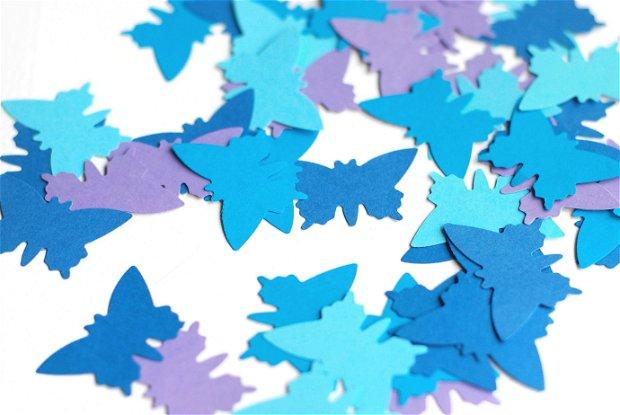 100 buc Fluturasi colorati - Albastru navy, baby blue, mov