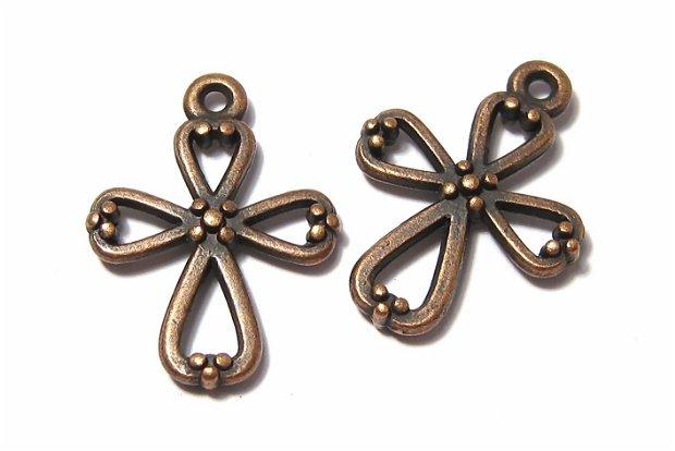 Pandantiv metalic, cruciulita, cupru, 22x17 mm