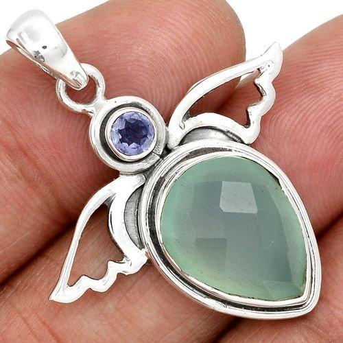 Ag305 - Pandantiv, argint 925, calcedonie si iolite, albastru bleu, aripi inger