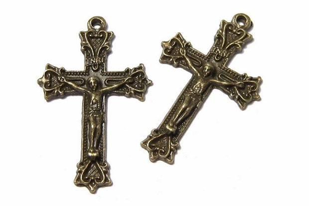 Pandantiv metalic, cruciulita, bronz, 39.5x25 mm