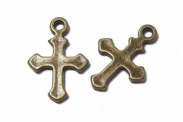 Pandantiv metalic, cruciulita, bronz, 19x12.5 mm