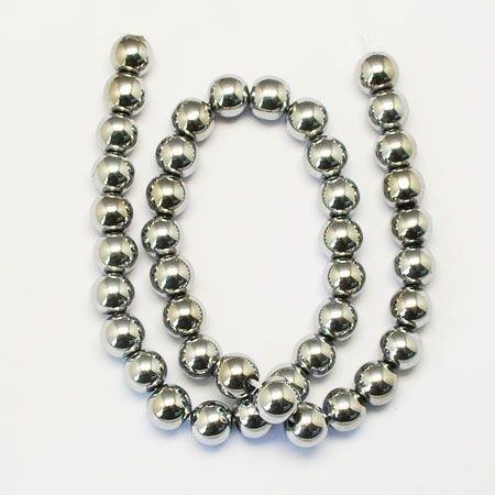 Margele rotunde hematit,6mm,argintii,HEM06-03