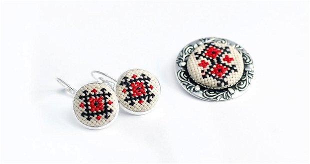 Set brosa si cercei cu broderie traditionala romaneasca cod 626