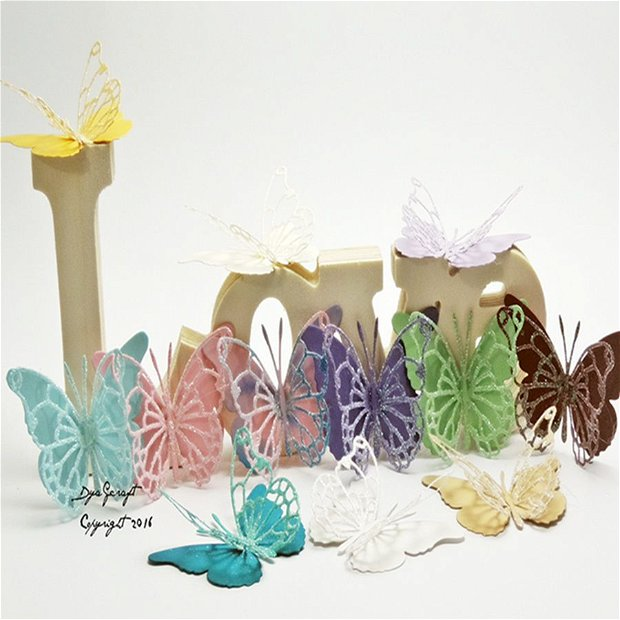 Fluturi cu sclipici pentru tort, nunta, botez, candy bar