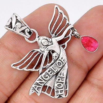 Ag380 - Pandantiv, argint 925, radacina de rubin, Ingerul Sperantei