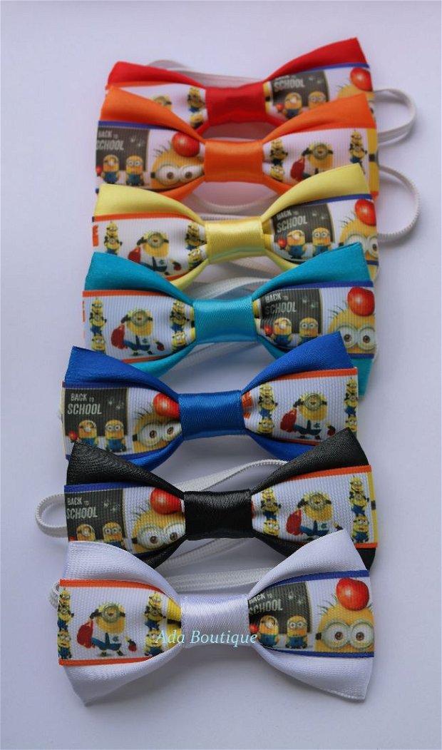 Mini papion copii Minions-back to school- albastru