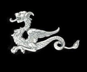 9065 - Charm, ornament, element decorativ, alama placata cu argint, aspect vintage, dragon sarpe