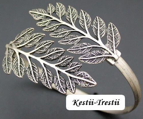9130 - Baza bratara reglabila, antebrat, aliaj metalic, frunze, argintiu antichizat