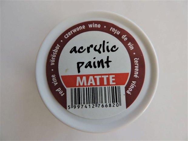 Vopsea acrilica mata, 50 ml- rosu de vin