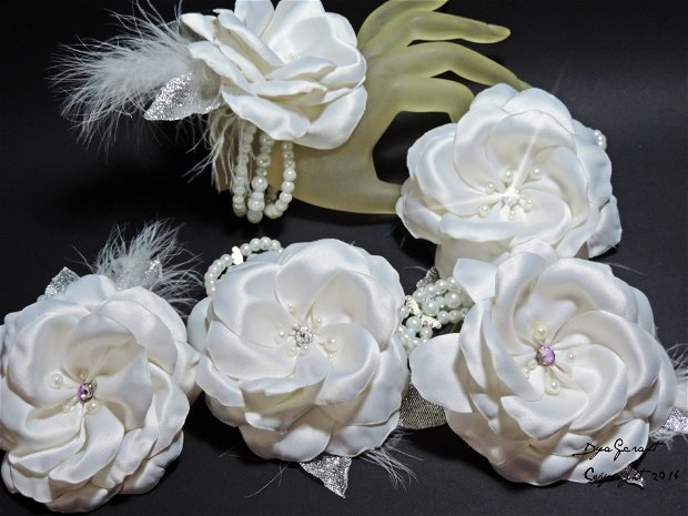 Bratara corsaj mireasa / domnisoare de onoare Romantic Rose
