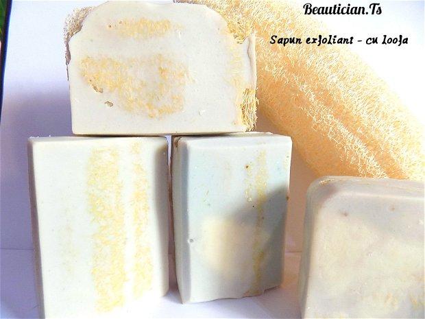 LOOFA NATURALA & MASCARPONE - sapun natural fin exfoliant ptr. ten si corp