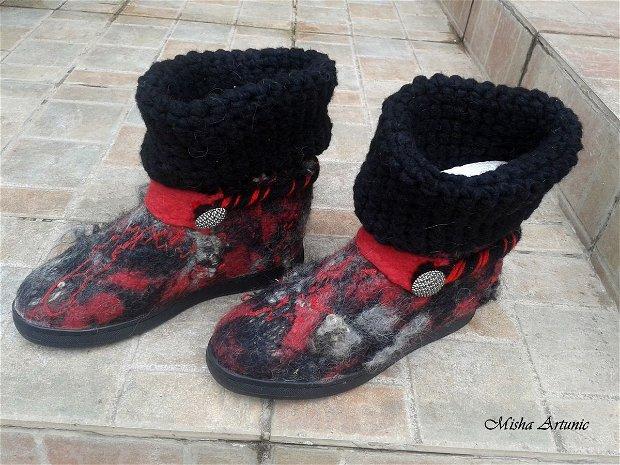 Ghete de toamna/ primavara impaslite si crosetate - Black&Red
