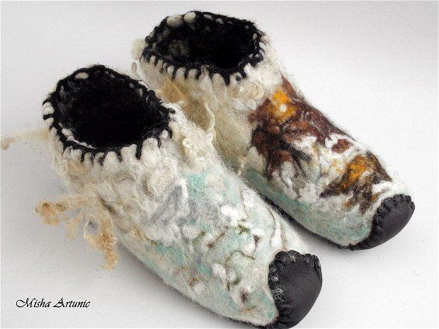 Botosi impasliti cu talpa din piele pentru barbati- Iarna