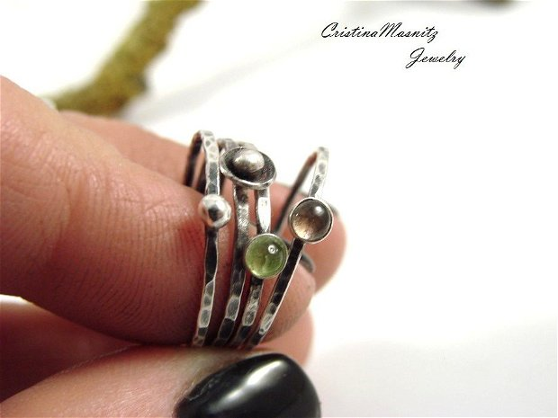 Stacking ring din argint 925 partial oxidat
