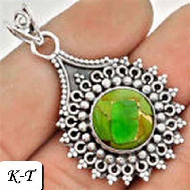Ag068 - Pandantiv, argint 925, turcoaz verde