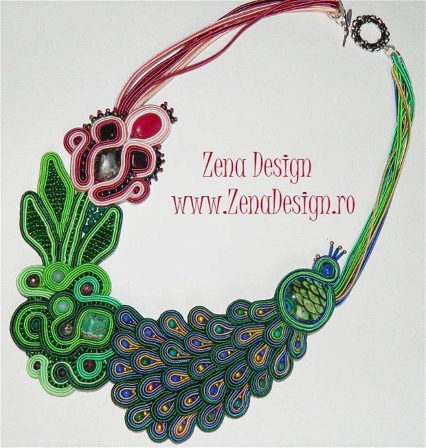 Colier statement  Păun cu floare magică  colier handmade unicat, colier cu pietre semipreţioase