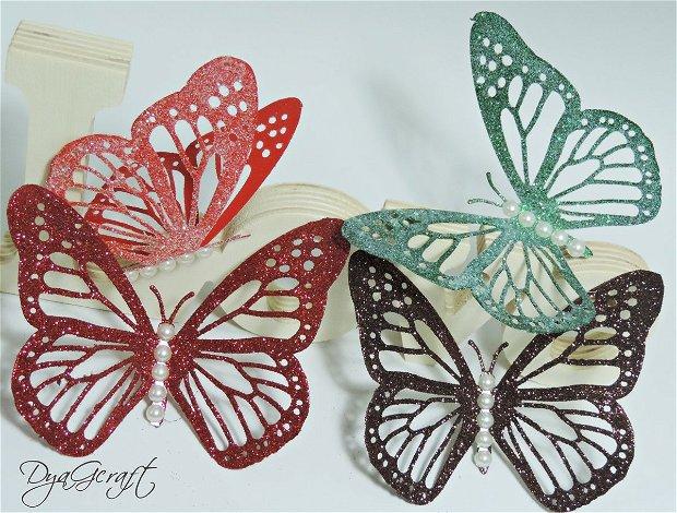Fluturi  din carton mari cu sclipici