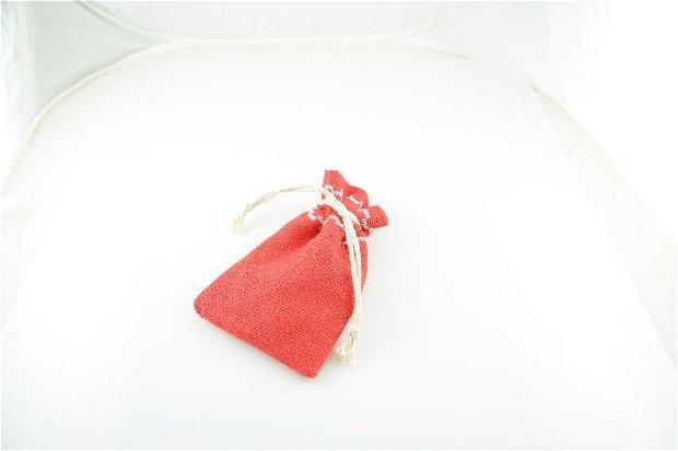 Saculeti material textil, cusatura decorativa, 10.5x4.5cm