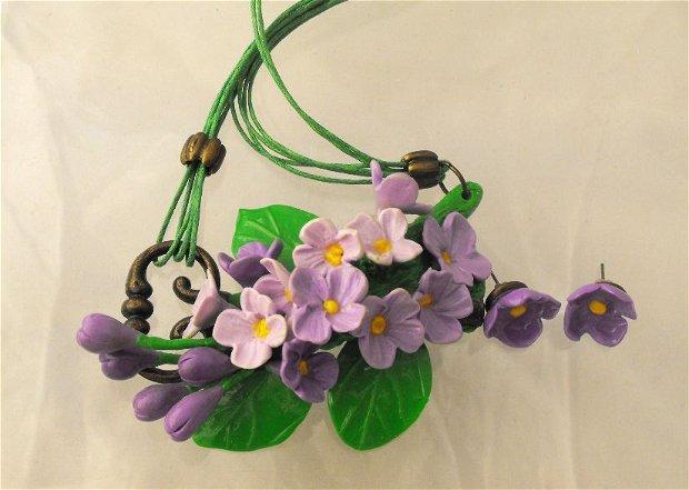 Flori de liliac - Polymer Clay Jewelry Set, Modern jewelry set, Flower jewellery, Contemporary jewelry