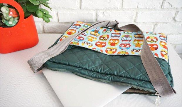 Geanta Laptop Verde cu Bufnite