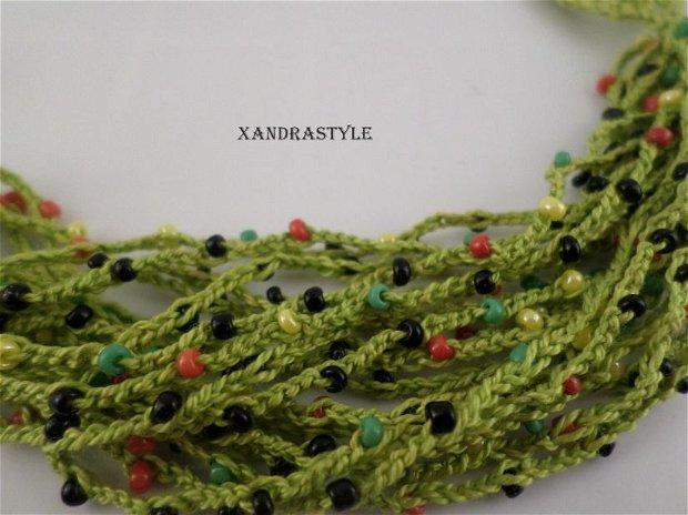 Bratara Verde crosetata cu margele