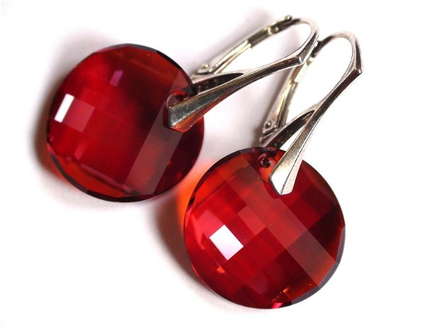 Cercei mari din Cristale Swarovski twist rosii si argint 925 - CE292 - Cercei casual delicati, cercei eleganti, cercei romantici, cercei stralucitori, cercei ocazie
