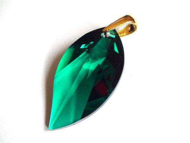 Cercei mari verzi si pandantiv din Cristale Swarovski leaf si argint aurit - CE340.1a, PA340.1a - Cercei eleganti, cercei romantici, cercei mari stralucitori, cadou pentru ea, cercei ocazie, cercei auriti
