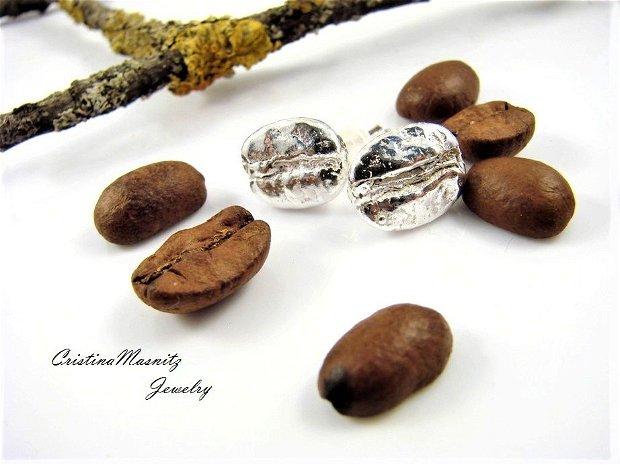 Cercei cu tija din argint 925, boabe de cafea