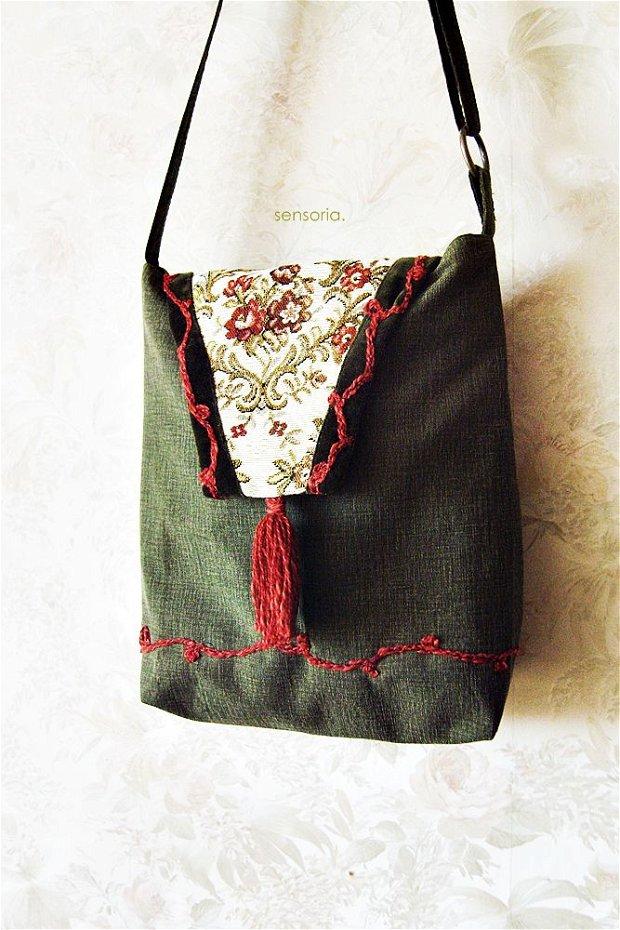 geanta kaky cu flori ,  arabescuri si canaf