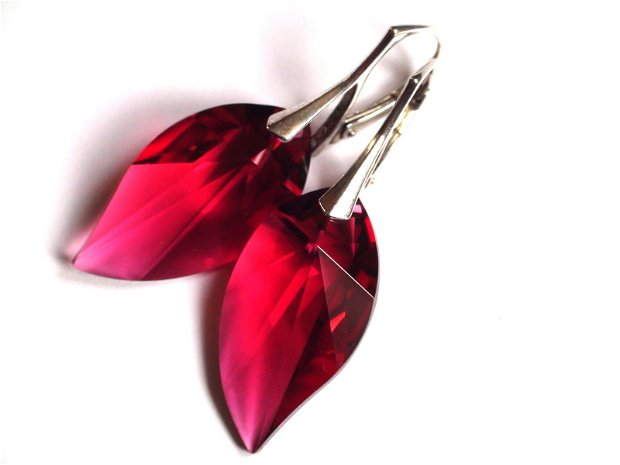Cercei mari rosii cu Cristale Swarovski leaf si argint 925 - CE340 - Cercei eleganti, cercei romantici, cercei mari stralucitori, cadou pentru ea, cercei ocazie