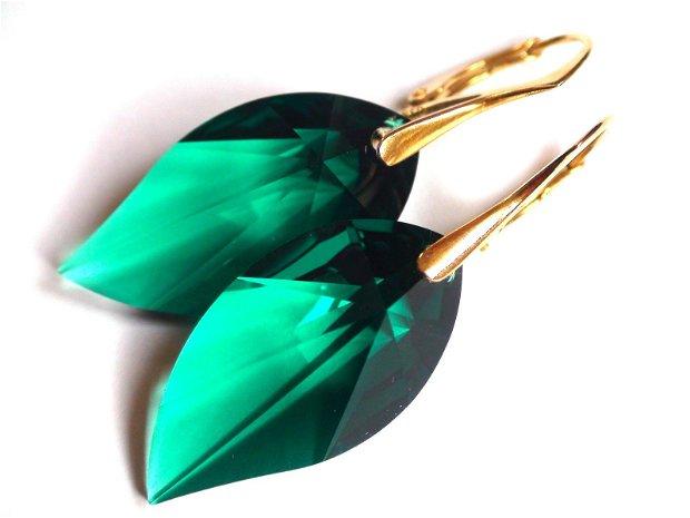 Cercei mari verzi din Cristale Swarovski leaf si argint aurit - CE340.1a - Cercei eleganti, cercei romantici, cercei mari stralucitori, cadou pentru ea, cercei ocazie, cercei auriti