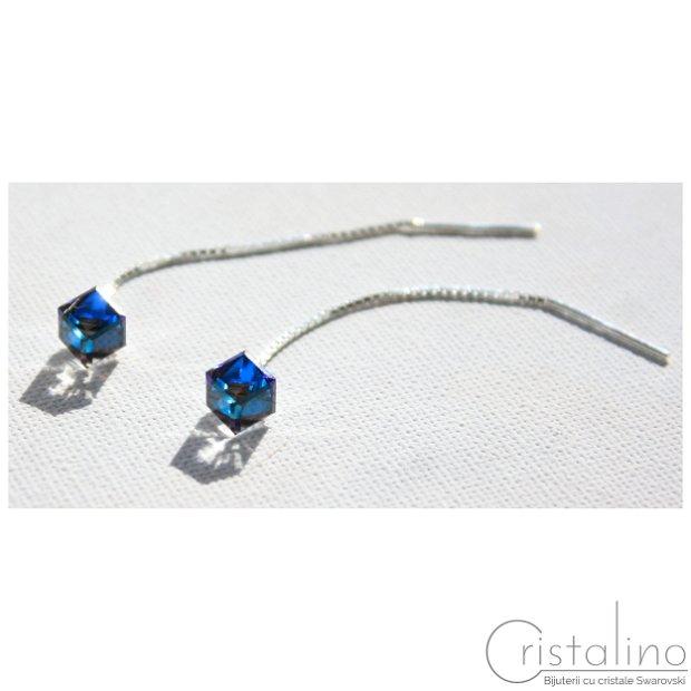 Cercei argint 925 și Cristale Swarovski cub -Bermuda Blue