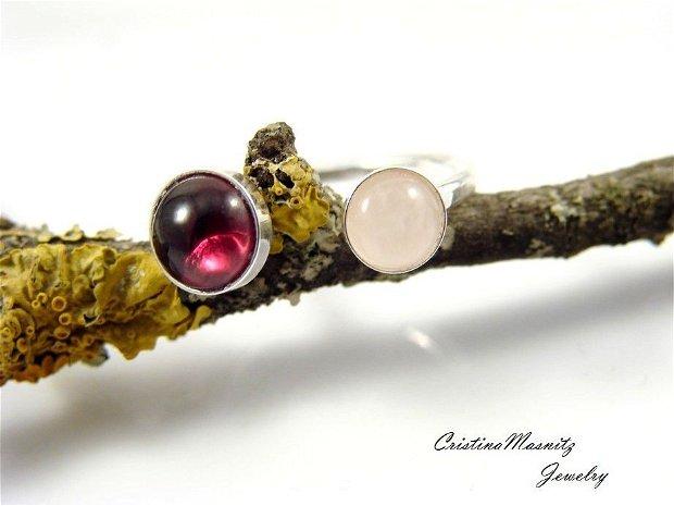 Inel reglabil din argint 925 cu textura de ciocan si pietre de cuart roz si granat