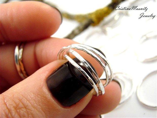 Stacking rings din argint 925, cu textura de ciocan, foarte subtiri