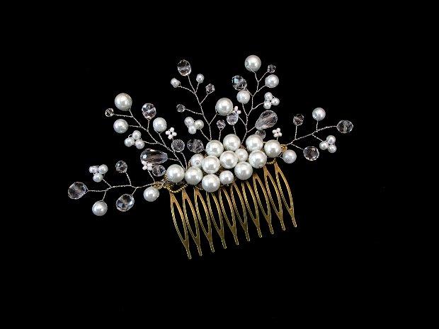 Pieptene bronz cu perle si cristale