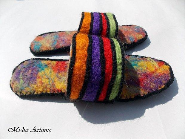 Papuci impasliti multicolori